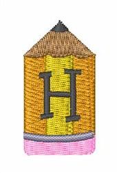 Pencil Font H embroidery design