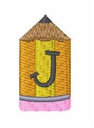 Pencil Font J embroidery design