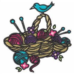 Knitting Basket embroidery design