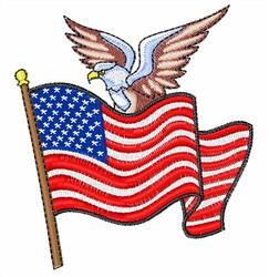 Patriotic Flag & Eagle embroidery design