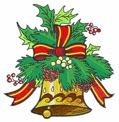 Christmas Holly Bell embroidery design
