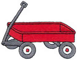 Little Red Wagon embroidery design