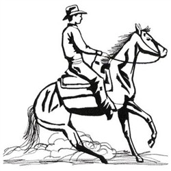 Reining Horse Outline embroidery design