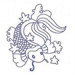 Bluework Koi Fish embroidery design