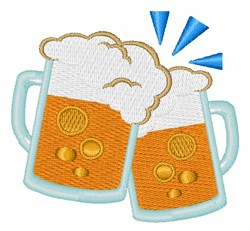 Clinking Beer Mugs embroidery design