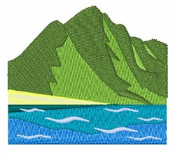 Mountain scene embroidery design