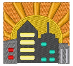 City Sunset embroidery design