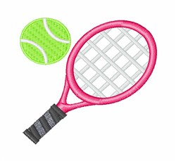 Tennis Racket & Ball embroidery design