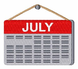 July Calendar embroidery design