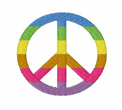 Rainbow Peace Symbol embroidery design
