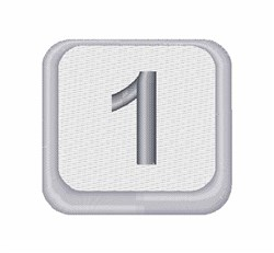 Number 1 Button embroidery design