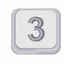 Number 3 Button embroidery design
