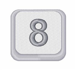 Number 8 Button embroidery design