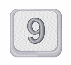 Number 9 Button embroidery design