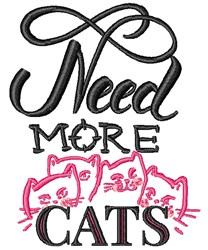 Need More Cats embroidery design