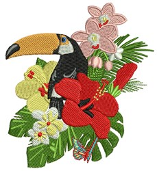 Toucan In Flowers embroidery design