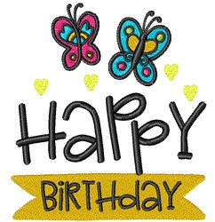 Happy Birthday Butterflies embroidery design