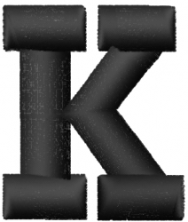 Geopuff Font  K embroidery design