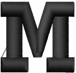 Geopuff Font  M embroidery design