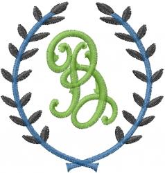 Laurel Letter B embroidery design