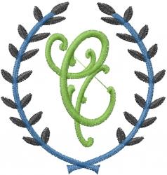 Laurel Letter C embroidery design