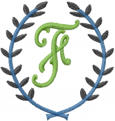 Laurel Letter F embroidery design
