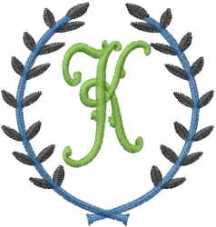 Laurel Letter K embroidery design