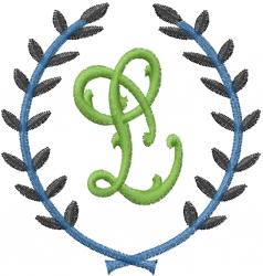 Laurel Letter L embroidery design