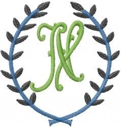 Laurel Letter N embroidery design