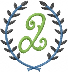 Laurel Letter Q embroidery design