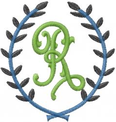 Laurel Letter R embroidery design