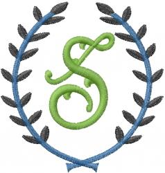Laurel Letter S embroidery design