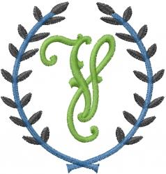 Laurel Letter V embroidery design