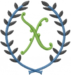 Laurel Letter X embroidery design