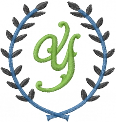 Laurel Letter Y embroidery design