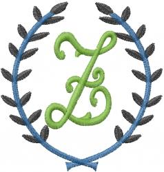 Laurel Letter Z embroidery design