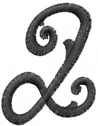 Vine Font Q embroidery design