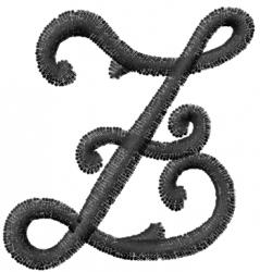 Vine Font Z embroidery design