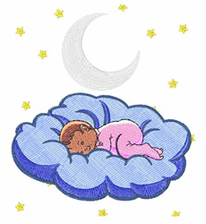 Baby On Cloud embroidery design