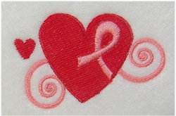 Pink Ribbon Heart embroidery design