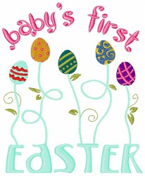 Babys First Easter Eggs embroidery design