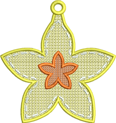 FSL Floral Star Earring embroidery design
