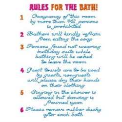 Rules For The Bath embroidery design