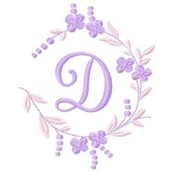 Floral Monogram D embroidery design