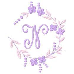 Floral Monogram N embroidery design