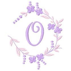Floral Monogram O embroidery design