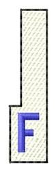 White Piano Key F embroidery design