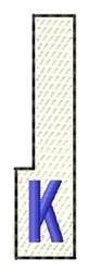 White Piano Key K embroidery design