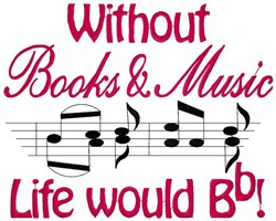 Books and Music embroidery design