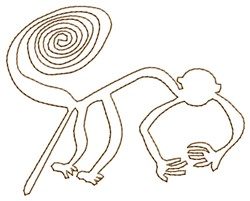 Nazca Lines Monkey embroidery design